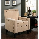 Abbyson Living Tafteen Wood and Linen Armchair in Cream