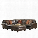 Ashley Nesbit 3 Piece Left Leather Sectional with Ottoman in Antique