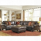 Ashley Nesbit 4 Piece Left Leather Sectional with Ottoman in Antique