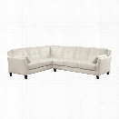 Furniture of America Billie Faux Leather Tufted Sectional in White