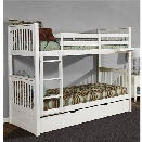 NE Kids Pulse Twin Over Twin Slat Bunk Bed with Trundle in White