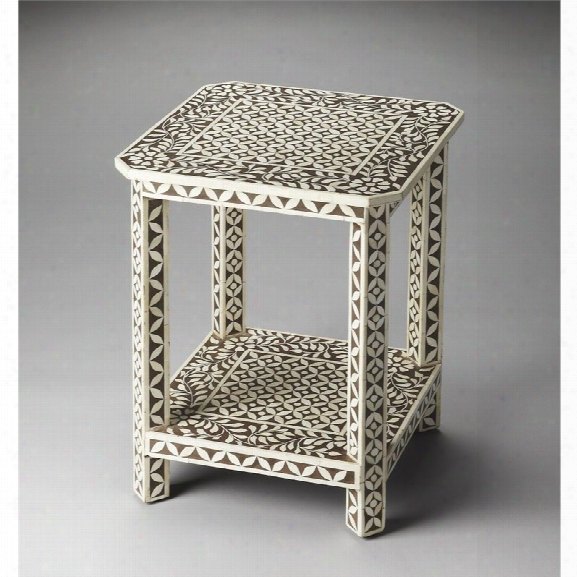 Butler Specialty Bone Inlay Square End Table In Brown Bone Inlay