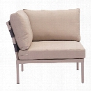Zuo Glass Beach Outdoor Corner Chair in Taupe