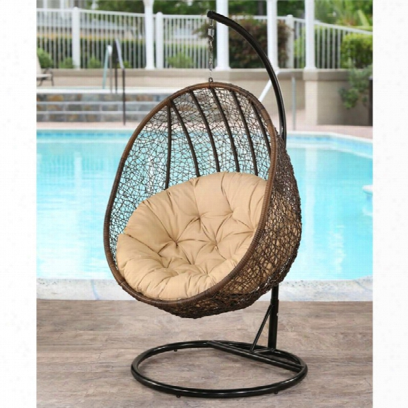 Abbyson Living Kinsley Outdoor Wicker Swing Chair In Espresso