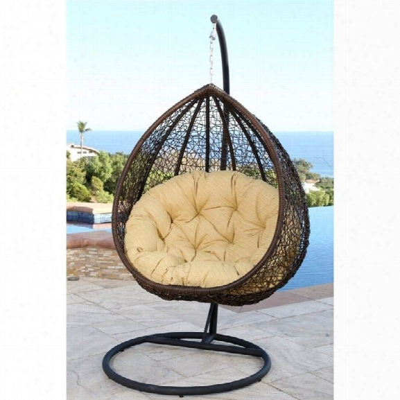 Abbyson Living Sonoma Outdoor Wicker Swing Chair In Yellow
