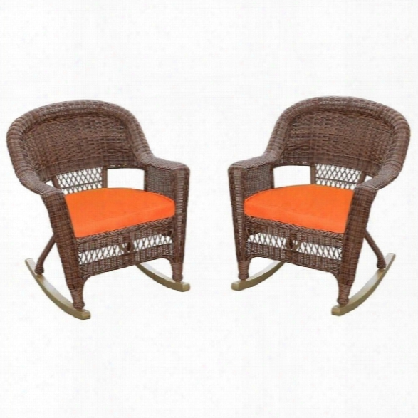 Jeco Wicker Chair In Honey With Orange Cushion(set Of 4)