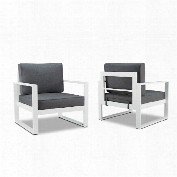 Real Flame Baltic Patio Chair In Gray And White (set Of 2)
