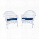 Jeco Wicker Chair in White with Blue Cushion (Set of 4)
