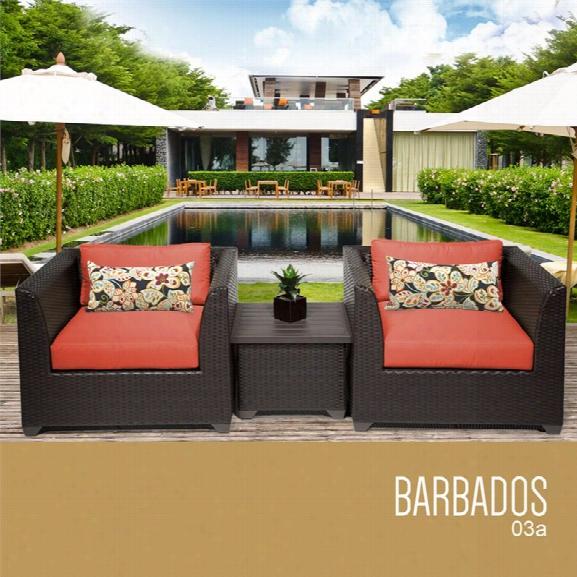 Tkc Barbados 3 Piece Patio Wicker Conversation Set In Orange