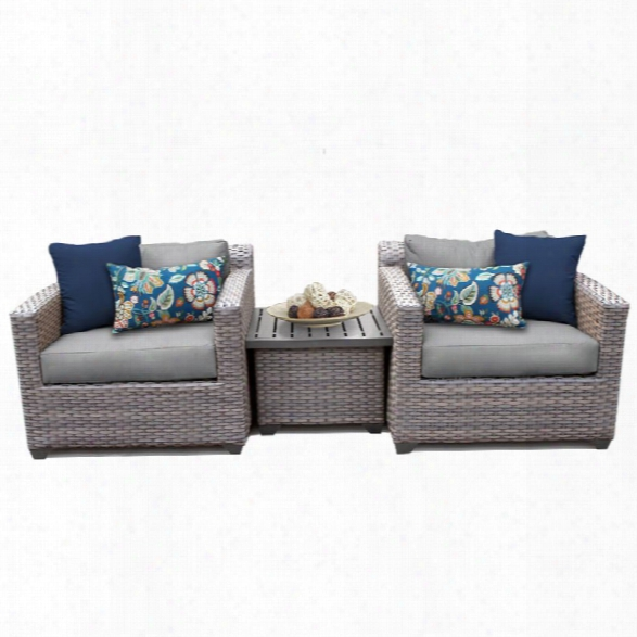 Tkc Florence 3 Piece Patio Wicker Conversation Set In Gray