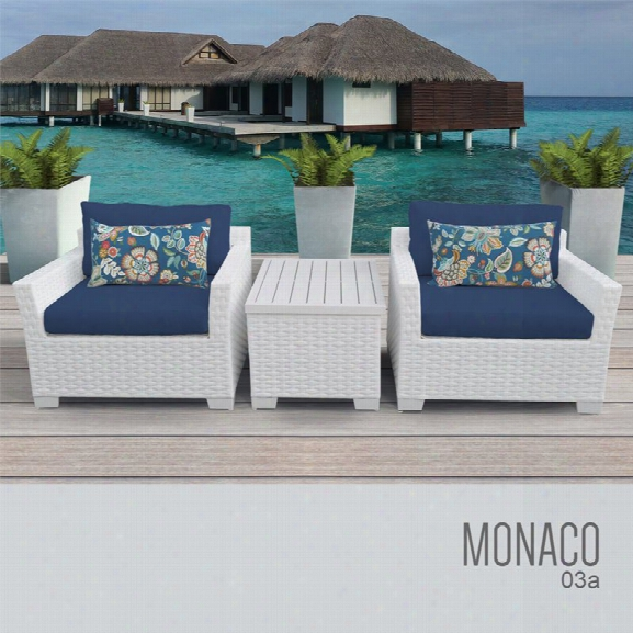 Tkc Monaco 3 Piece Patio Wicker Conversation Regulate In Blue