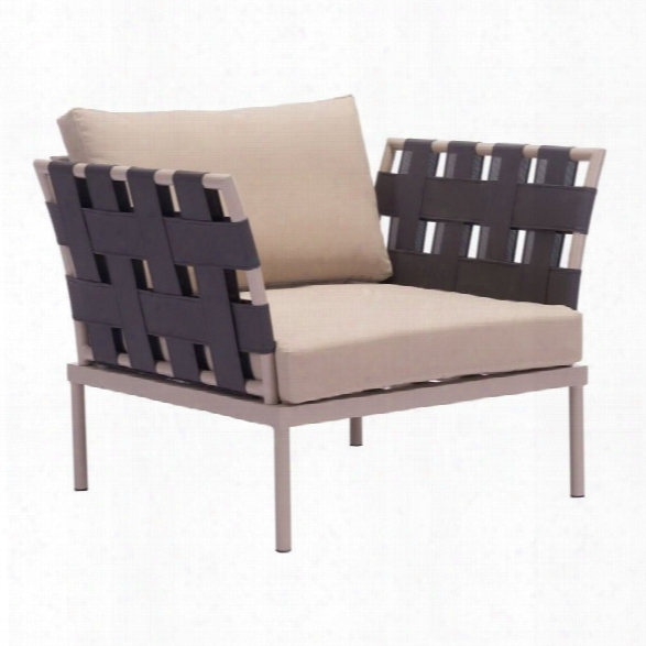 Zuo Glass Beach Outdoor Arm Chair In Taupe