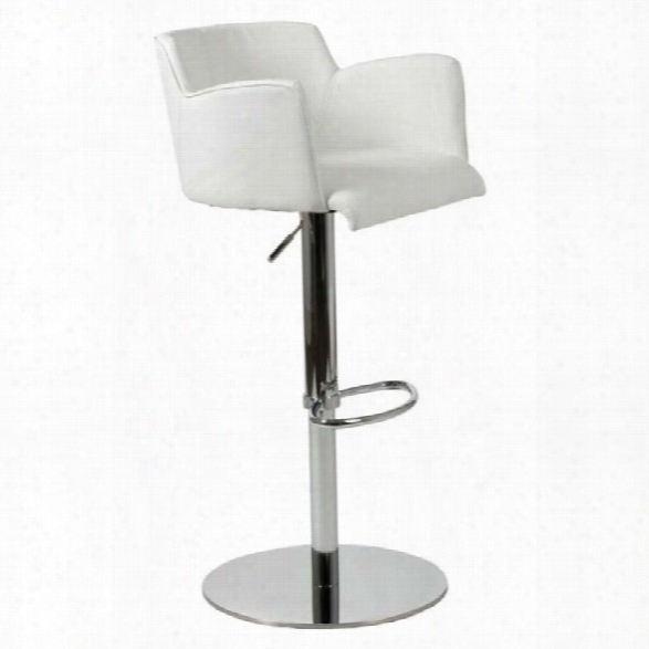 Adjustable Bar Stoo In White And Chrome