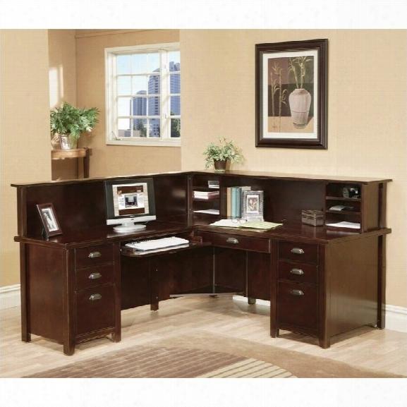 Kathy Ireland Home By Martin Tribeca Loft Cherry Lhf L-shaped Executive Desk With Reception Hutch