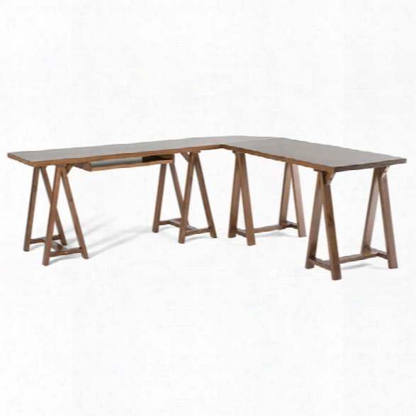 Simpli Home Sawhorse L-shaped Home Office Desk In Medium Saddle Brown
