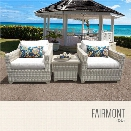 TKC Fairmont 3 Piece Patio Wicker Conversation Set in White