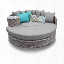 TKC Oasis Round Patio Wicker Daybed in Gray