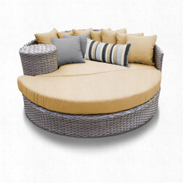 Tkc Oasis Round Patio Wicker Daybed In Sesame