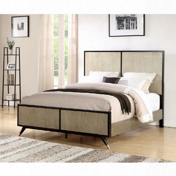 Abbyson Living Braxton King Mid Century Bed In Gold