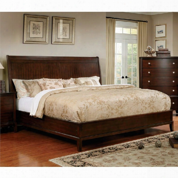 Furniture Of America Monaco King Panel Bed In Brown Cherry