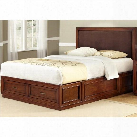 Home Styles Duet Platform King Panel Bed Brown Microfiber Inset