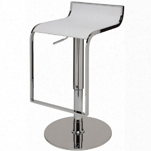 Nuevo Alexander Adjustable Leather Bar Stool In White