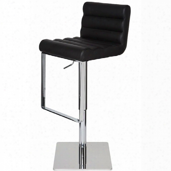 Nuevo Fanning Adjustable Leather Bar Stool In Black