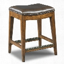 Hooker Furniture Sangria 24 Backless Leather Counter Stool in Medium Wood