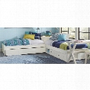 NE Kids Pulse Twin L Shaped Storage Bed with Trundle in White