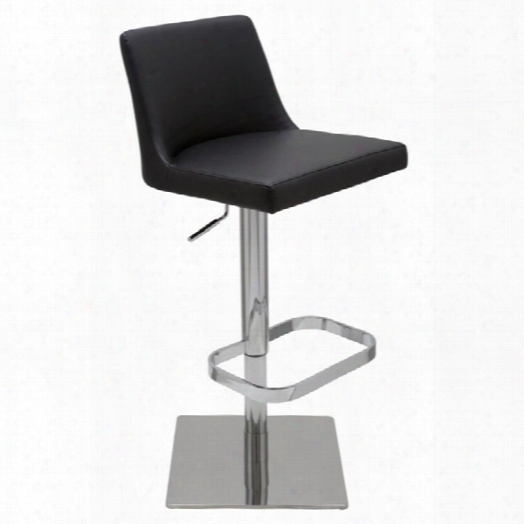 Nuevo Rome Adjustable Faux Leather Bar Stool In Black