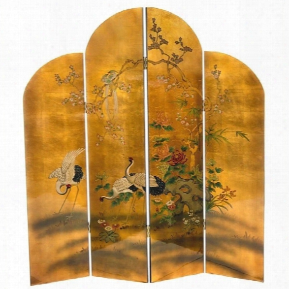 Oriental Furniture 6' Tall Cranes Screen In Gold