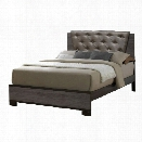 Furniture of America Charlsie California King Tufted Bed in Gray