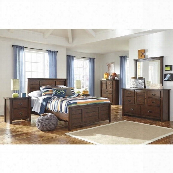 Ashley Ladiville 6 Piece Wood Full Panel Bedroom Set In Rustic Brown
