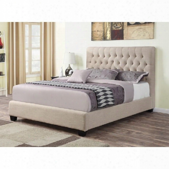 Coaster Chloe Upholstered King Bed In Oatmeal