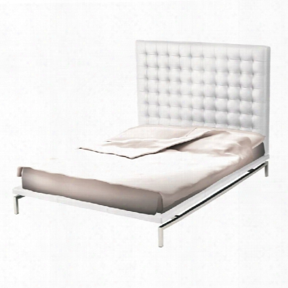 Nuevo Bentley Faux Leather Upholstered Queen Panel Bed In White