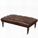 Abbyson Living Monty Leather Ottoman with Casters in Brown