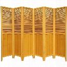 Oriental Beadboard 6 Panel Room Divider in Honey