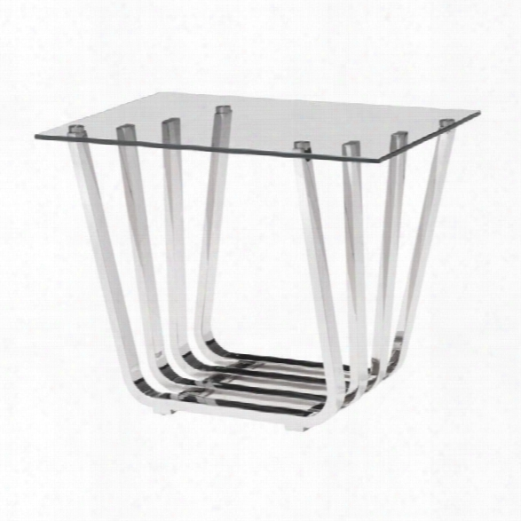 Zuo Fan Glass End Table In Chrome