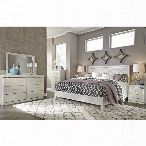 Ashley Dreamur 5 Piece King Panel Bedroom Set In Champagne