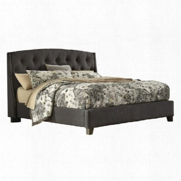 Ashley Kasidon Tufted Fabric Upholstered King Bed In Gray