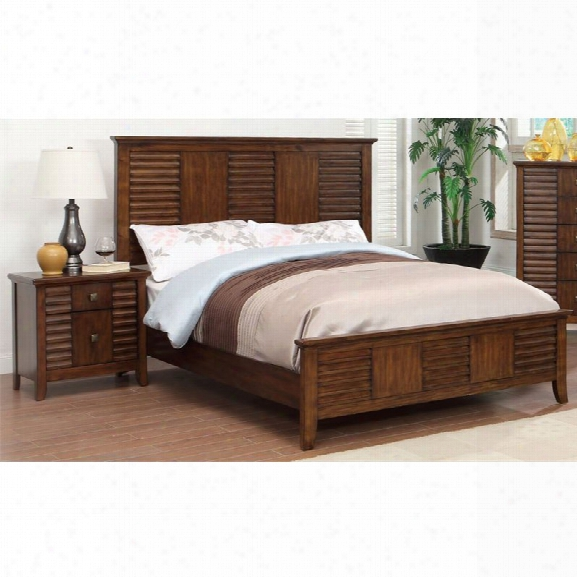 Furniture Of America Kyrin 2 Piece King Panel Bedroom Set In Walnut