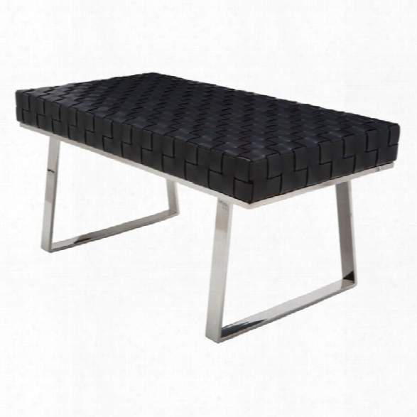 Nuevo Karlee Jr Leather Bench In Black