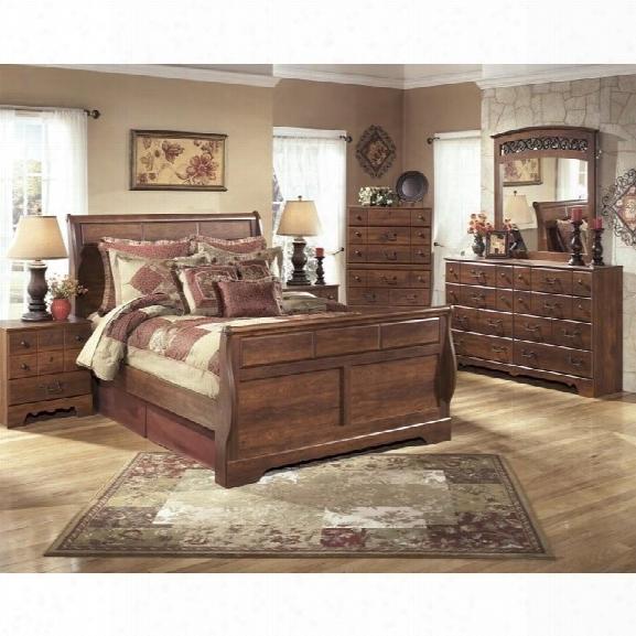 Ashley Timberline 6 Piece Wood Queen Sleigh Bedroom Set In Warm Brown