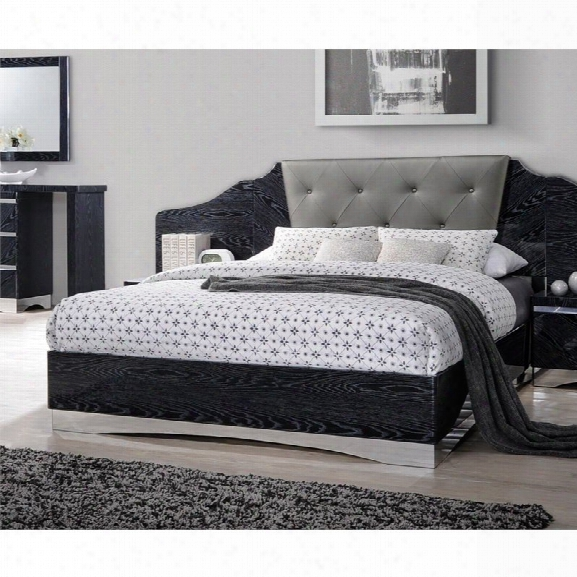 Coaster Alessandro Upholstered King Bed In Dark Gray And Black