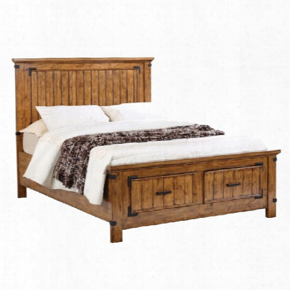Coaster Brenner King Storage Panel Bed In Natural And Honey