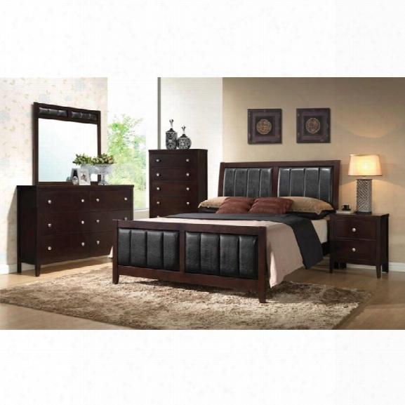 Coaster Carlton 5 Piece Upholstered King Panel Bedroom Set