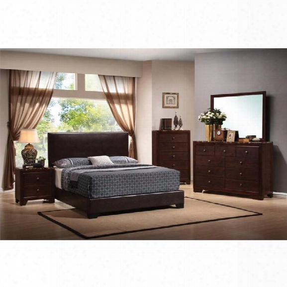 Coaster Conner 5 Piece Upholstered King Platform Bedroom Set