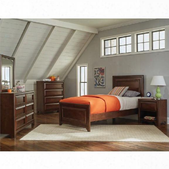 Coaster Greenough 4 Piece Twin Panel Bedroom Set In Maple Oak