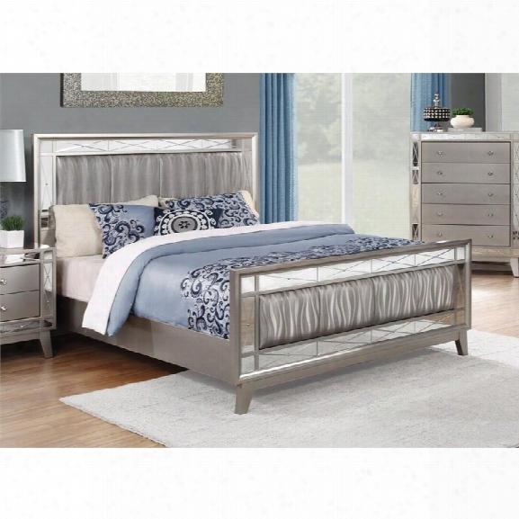 Coaster Leighton California King Mirrored Panel Bed In Mercury
