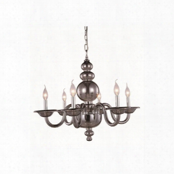 Elegant Lighting Champlain 27 6 Light Chandelier In Silver